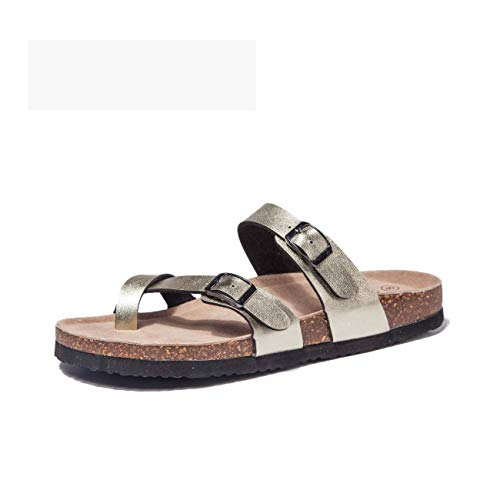 TF STAR Adjustable Flat Leather Gold Casual Sandals for Women & Ladies, Youth Suede Slide Cork Footbed for Teenagers/Girls ()