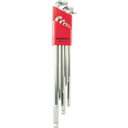 Bondhus 16799 9 Piece Stubby Ball End Tip Hex Key L-Wrench Set with BriteGuard Finish, Long Arm