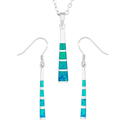 Sterling Silver Created Blue Opal Long Striped Earrings and Pendant Set with 18