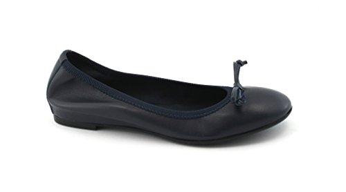 FRAU 70L0 Zapatos Azules Bailarinas Arco del Cuero del Estiramiento Blu
