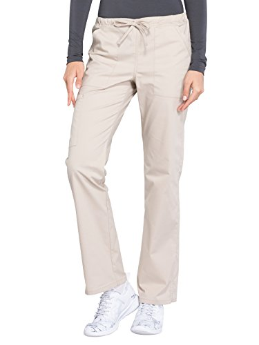 Cherokee WW Professionals WW160 Mid Rise Straight Leg Drawstring Pant Khaki L