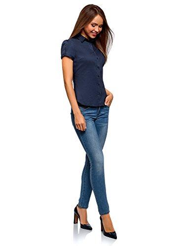 Chemise oodji Coton Manche Femme Courte 7900n Bleu Ultra en SPxHOqwzS