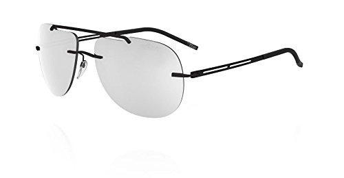 Silhouette Mirror (Silhouette Titanium Sunglasses Explorer Matte Black Silver Mirror)