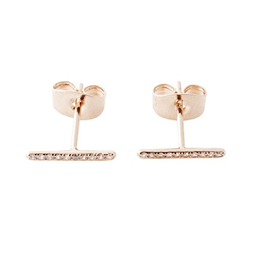 HONEYCAT Skinny Midi Crystal Wire Bar Stud Earrings in 18k Rose Gold Plated | Minimalist, Delicate Jewelry (RG)