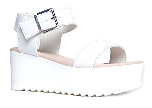 Surf Buckle Sandal, White PU, 7.5 B(M) US