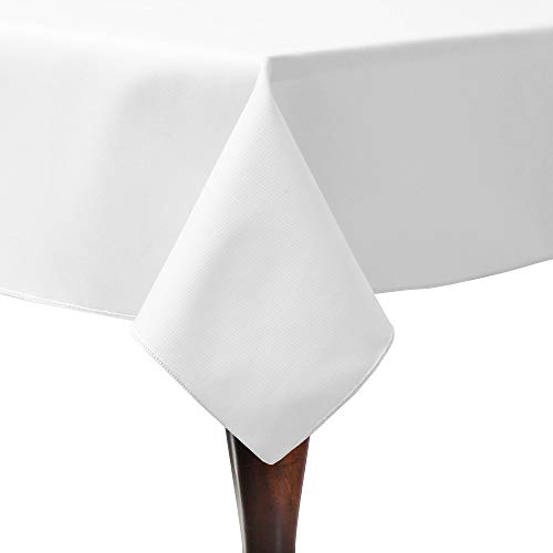 Ultimate Textile Poly-Cotton Twill 48 x 72-Inch Rectangular Tablecloth White