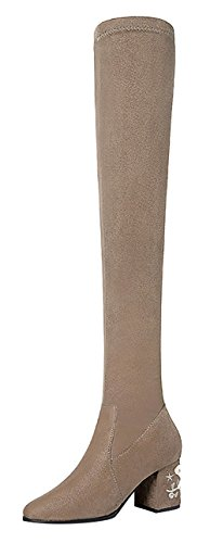 90s Inspired Costumes (T&Mates Womens Elegant Stylish Pull-on Chunky Block Heel Suede Over the Knee Long Boots (8 B(M)US,Nude))