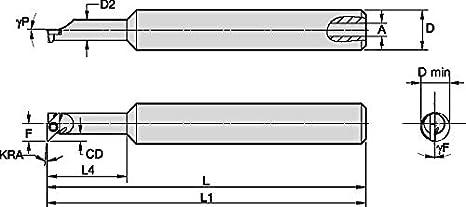 Offset Boring Bar Shank 3.75 Length Right 0/° Angle 1 Shank Diameter Steel WIDIA WIDIA Circle SSOI5001000150R SSOI Small Hole Boring Bar for Turning