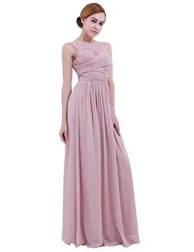 Soire iEFiEL Longue de Robe 46 Rose Dentelle Femme Mariage d'Honneur Robe Robe Demoiselle Elgant 36 Princesse Fille Ar8w4qA