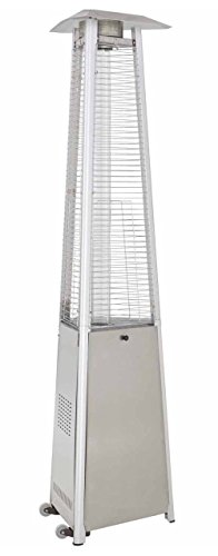 True Commercial (Propane Gas) Stainless Steel 3-Sided Pyramid Style Quartz Tube Patio Heater with Wheels (LP)