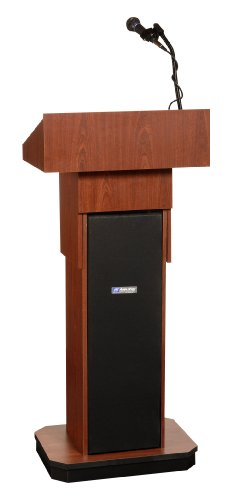 Amplivox S505AMH Executive Adjustable Sound Lectern, Column, 24w x 17-1/2d x 36 to 44h, Mahogany