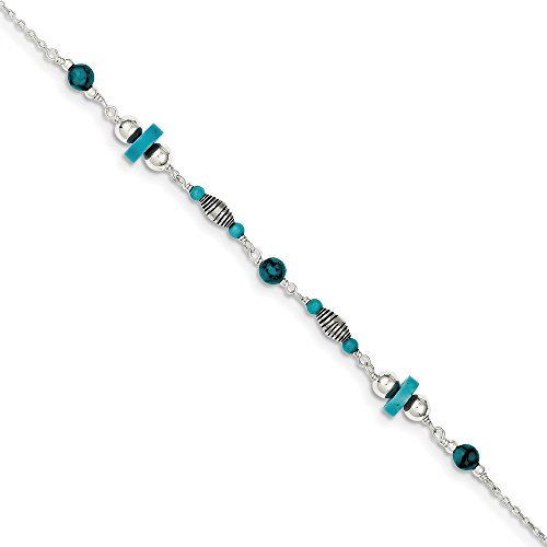 925 Sterling Silver Blue Turquoise Anklet Ankle Beach Chain Bracelet Fine Jewelry Gifts For Women For Her