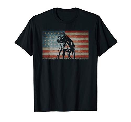 Pit Bull  Dog 4th of July American Flag Kids Boys Men women T-Shirt ()