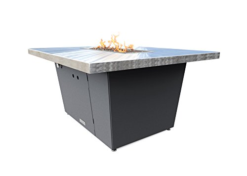 COOKE Palisades Rectangular Fire Pit Table - 44x36 - Chat Height - Propane - Brushed Aluminum Top with 3cm Edge - Grey Texture Powdercoat Base