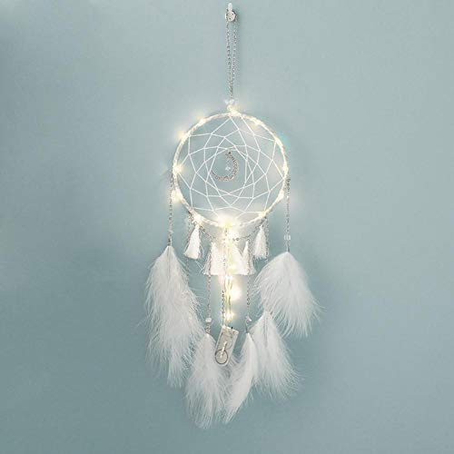 ade Feather Native American Dreamcatcher Moon Crystal Wind Bell Pendant for Car Kids Bed Room Wall Hanging Wedding Decoration Ornament Craft ()