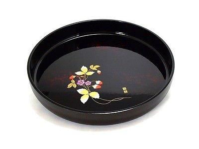"Japanese 11"" Diameter Black Lacquer Food Serving Round Ca..."