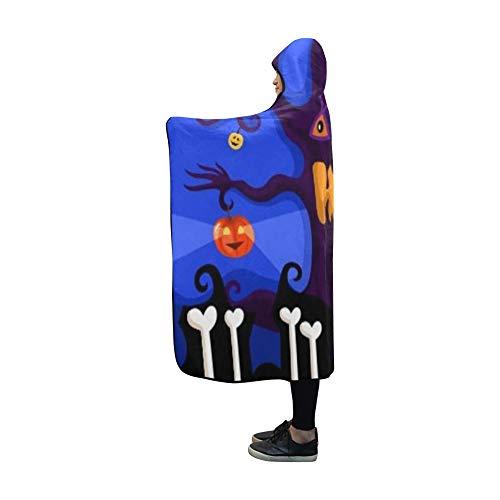 YUMOING Hooded Blanket Halloween Card Blanket 60x50 Inch Comfotable Hooded Throw Wrap
