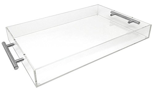 Isaac Jacobs Clear Acrylic Tray with Handle (11x17, Clear with Silver Handle) - Edge Serving Tray