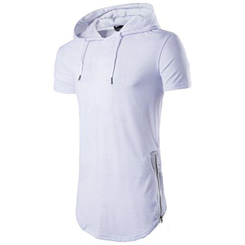 Capuche Blanc Homme Chengyang Section À Tee Slim Fit shirt Longue Shirt T Courte Manche OYRwqdTR