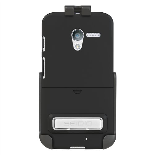 (Seidio BD2-HR3MTXPK-BK Surface Case with Metal Kickstand and Holster Combo for Motorola Moto X - Retail Packaging - Black )