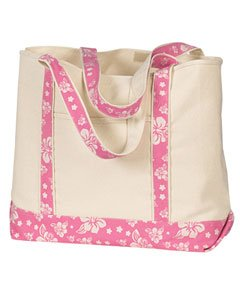 HYP-16 oz. Beach Tote~Natural/Flamingo Print ()