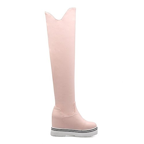 Toe top Closed Heels Material Boots Pink WeiPoot Solid High Soft Round Women's High 8OqqnXBR
