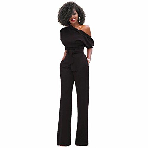 Zarupeng Damen Eleganter Overall Eine Schulter Lange Bodycon Clubwear Party Jumpsuit Playsuit Schwarz