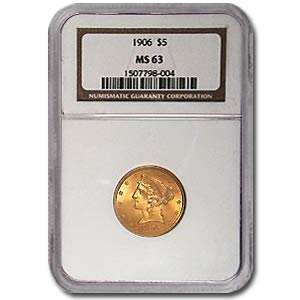 1906 $5 Liberty Gold Half Eagle MS-63 NGC G$5 MS-63 NGC