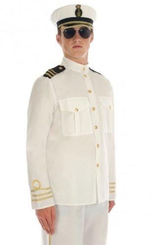 Naval Captain Costume (Mens Captain Naval Officer Fancy Dress Costume Size 46/48 X-Large)