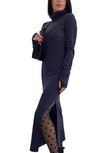 La Mujer Elegante Cuello Alto Punto De Hendidura Lateral Solido Bodycon Maxi Vestido De Fiesta Azul