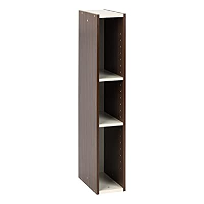 "IRIS USA, Inc. Slim Space Saving Shelf with Adjustable Shelves, 6""W x 34""H, 6-Inch, Walnut Brown - Stack 2 units vertically or attach horizontally to fit your space just right Slim design fits in small spaces, shelf is adjustable in 1 inch increments to maximize storage Easily fits CDs, DVDs, toiletries, and other small items - shelves-cabinets, bathroom-fixtures-hardware, bathroom - 31K%2BbILRT8L. SS400  -"