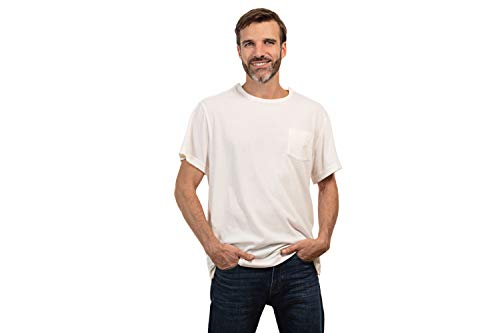 Snap Post - MAI Post Shoulder Surgery Shirts | Chemo Clothing for Port Access | Men Short Sleeve Shirt | Easy Snaps on Shirt Sides and Full Arm Opening | Soft Natural Cotton | Dialysis Clothing White