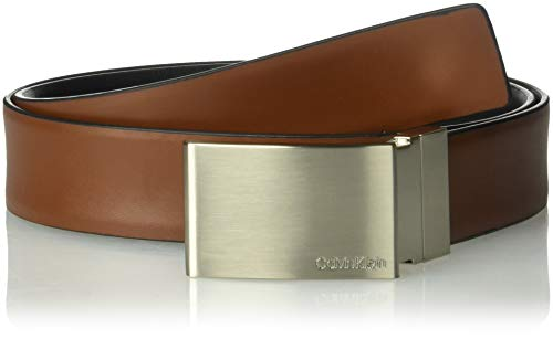 Calvin Klein Men's Reversible Feather Edge Dress Belt, Brown, 36