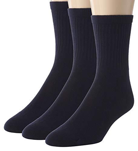 Sportoli Kids Boy's Soft Ribbed Classic Cotton Crew Casual Uniform Socks (Pack of 3) - Navy (10-13)