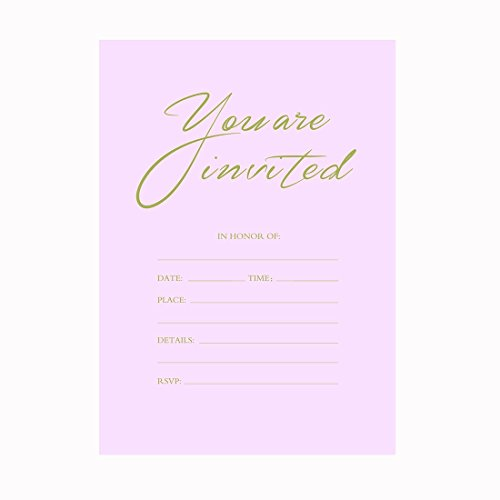 30 Fill-In Pink and Gold Invitations with Envelopes, Simple Wedding Invitation Cards, Bridal Shower Invites, Girl's Baby Shower, Engagement, Bachelorette Party, Reception