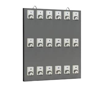 Key Rack - Key Stand # 18PGS with 18 Numbered Hooks for Small Businesses or Residential (18 Set of Tag & Ring Included)