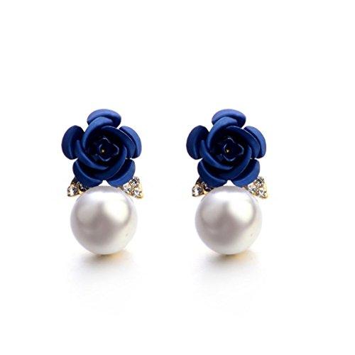 Paymenow Womens Girls Bohemia Earrings Fashion Summer Rose Pearl Circle Ear Clip Nice Jewelry (Blue)