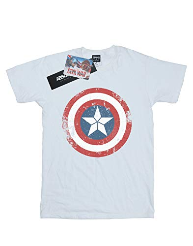 America War Distressed Blanca Camiseta Man Captain Shield Civil Marvel q1SBzg