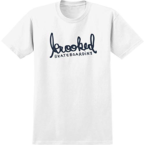 (Krooked Skateboards Skript White/Navy Men's Short Sleeve T-Shirt - Medium)