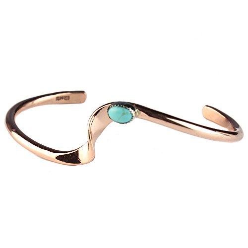 Tskies Copper Bracelet for Women Authentic Inlaid Turquoise Stone Native American Made Jewelry