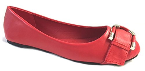 Shoes 18 Womens Faux Leather Ballerina Ballet Flats Shoes W/Buckle Red 5058 05Anul9