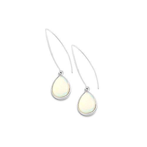 Abalone Pearl Hook Earrings - Silver and Mother of Pearl Teardrop Cabochon Long Hook Drop Earrings