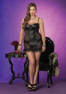 Avenue Mesh Panties Leg (Leg Avenue Women's Plus Size 2 Piece Spandex And Mesh Padded Underwire Chemise And Panty, Black, 3X-4X)