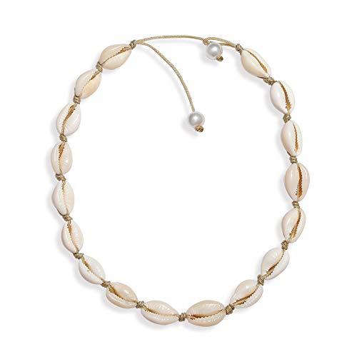 HEIDKRUEGER Natural Shell Choker Necklace Handmade Adjustable Cowrie Collar Boho Hawaii Summer Beach Necklace for Women Girls (Brown)