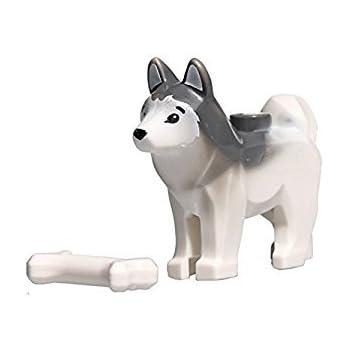 "LEGO Animal Minifigure Husky Arctic Sled Dog with Bone (Aprox. 1""inch Size)"