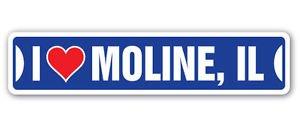 I LOVE MOLINE, ILLINOIS Custom Sticker Decal Wall Window Door Art Vinyl Street Signs - 8.25