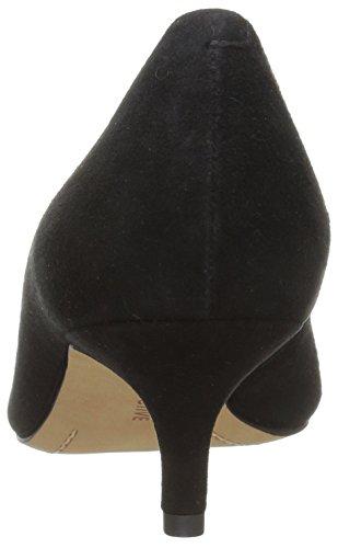 206 Colletto Da Donna Queen Anne Gattino Con Tacco A Pompa Nero In Pelle Scamosciata