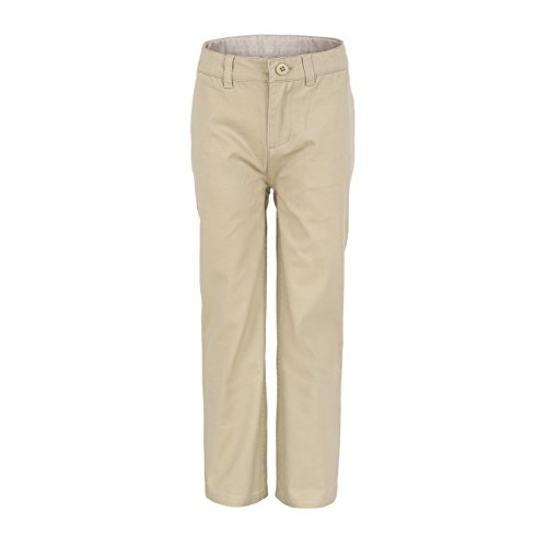 Bienzoe Big Boy's School Uniforms Flat Front Adjust Waist Pants Khaki Size 14 ()
