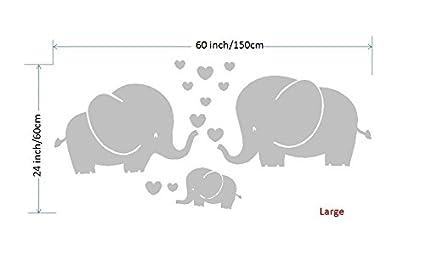Small gris Mafent Sticker mural pour chambre denfant Trois /él/éphants et c/œurs Gris