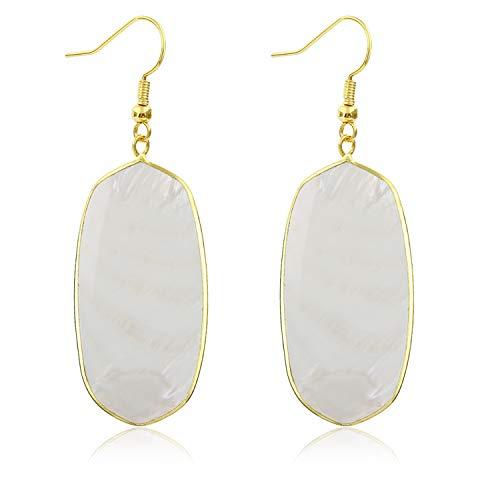 Stone Crystal Dangle Drop Earrings Teardrop/Oval Stylish Jewelry for Women Ladies Girls (White Shell(Oval))